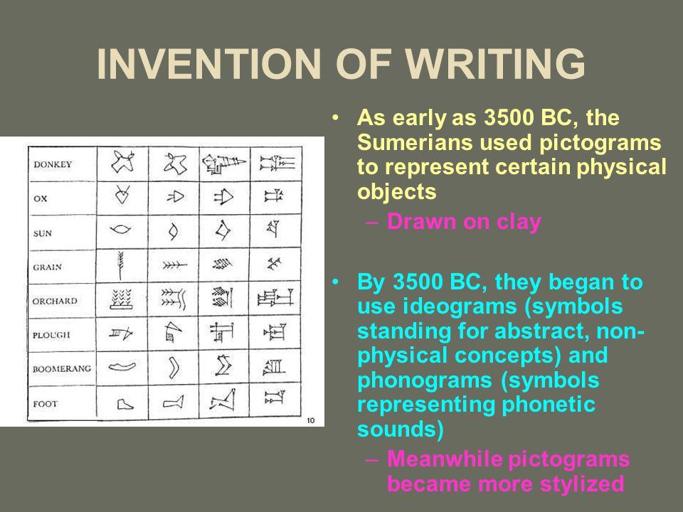 INVENTION OF WRITING As early as 3500 BC, the Sumerians used pictograms to represent certain physical objects –Drawn on clay By 3500 BC, they began to
