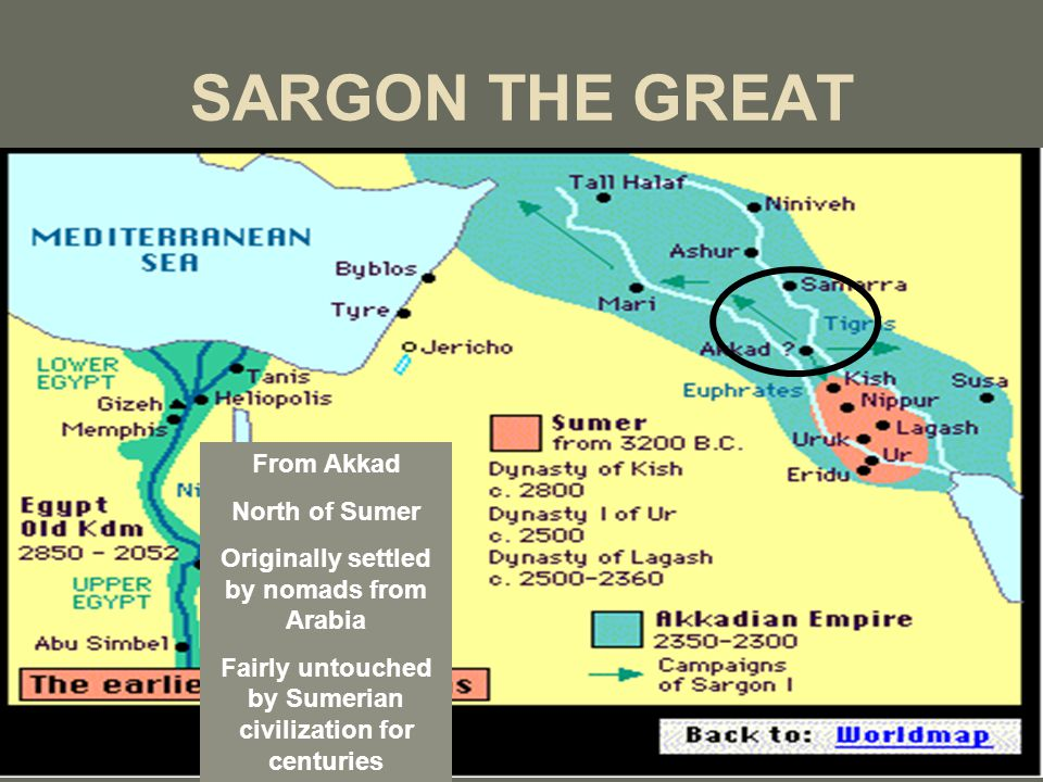 SARGON THE GREAT From Akkad North of Sumer Originally settled by nomads from Arabia Fairly untouched by Sumerian civilization for centuries