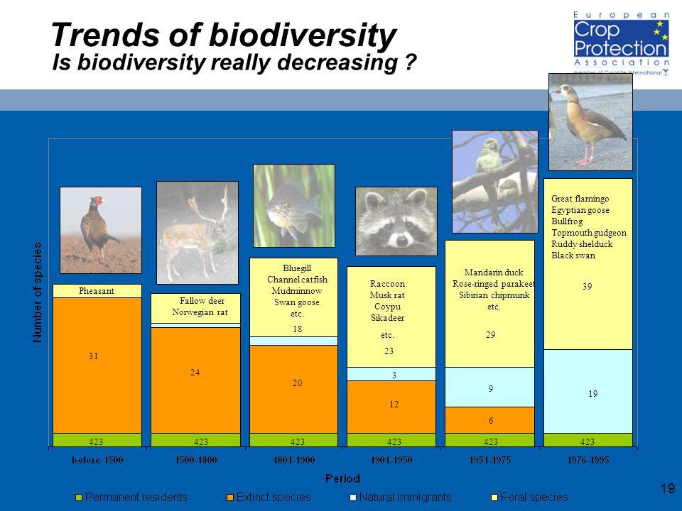 19 Trends of biodiversity Pheasant Fallow deer Norwegian rat Raccoon Musk rat Coypu Sikadeer etc.