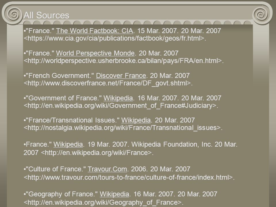 All Sources France. The World Factbook: CIA. 15 Mar.