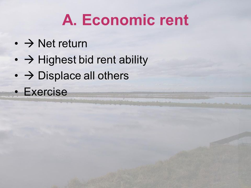 A. Economic rent  Net return  Highest bid rent ability  Displace all others Exercise