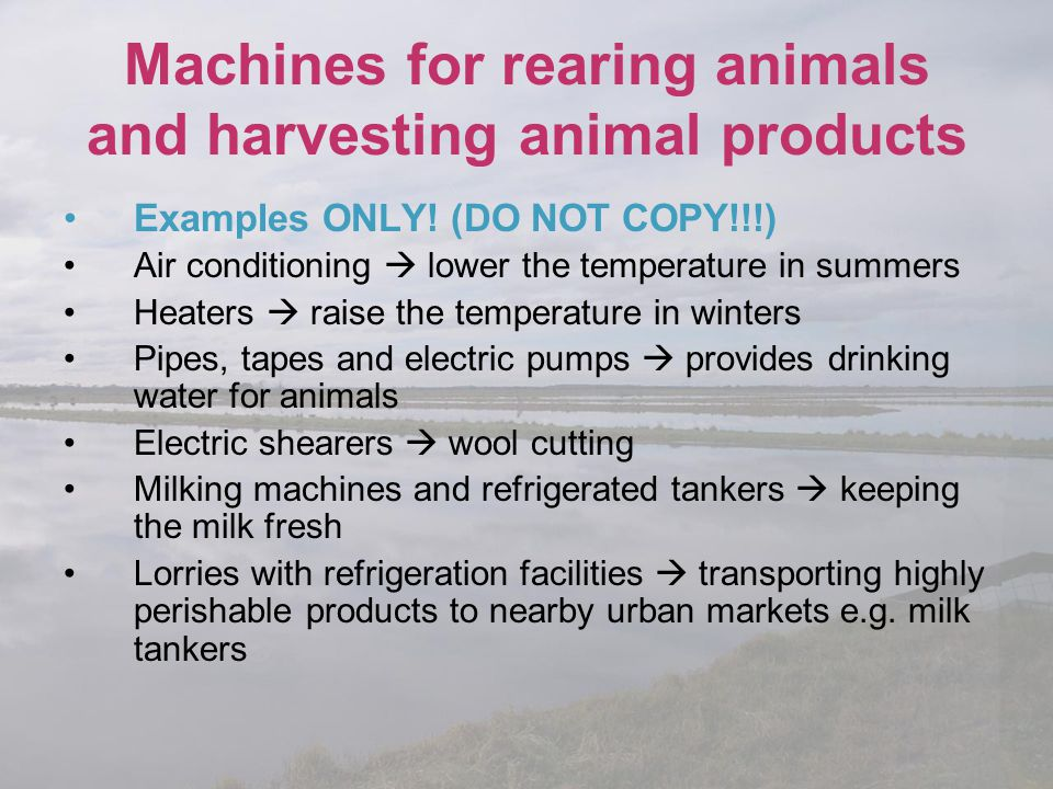 Machines for rearing animals and harvesting animal products Examples ONLY! (DO NOT COPY!!!) Air conditioning  lower the temperature in summers Heater
