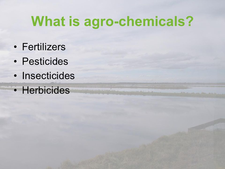 What is agro-chemicals? Fertilizers Pesticides Insecticides Herbicides