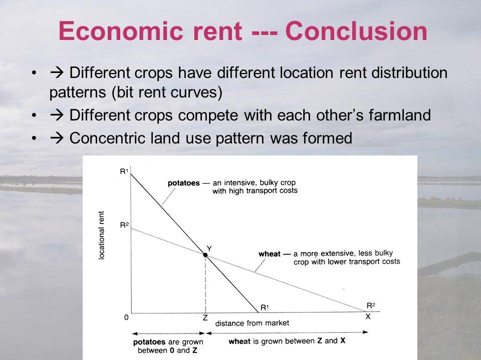 Economic rent --- Conclusion  Different crops have different location rent distribution patterns (bit rent curves)  Different crops compete with eac