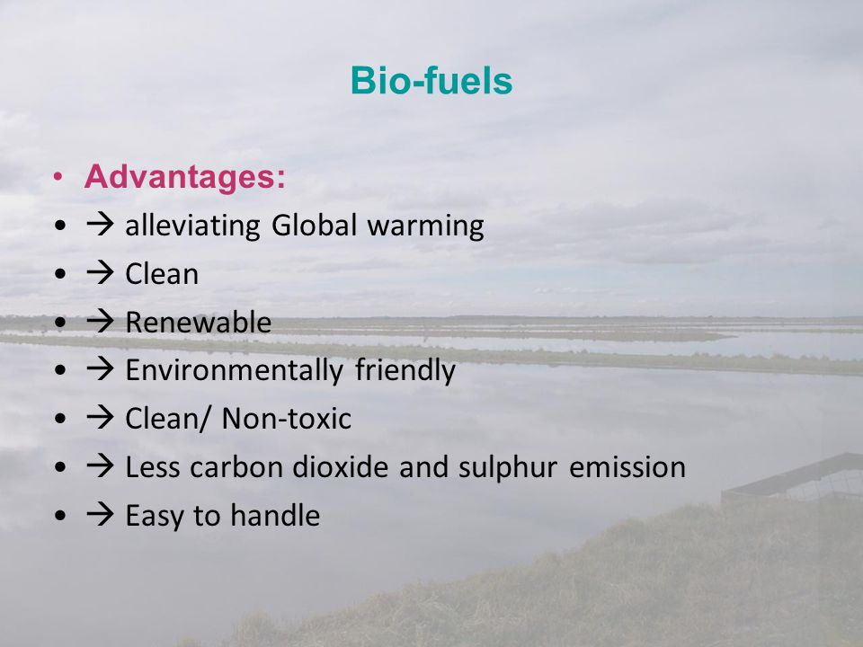 Bio-fuels Advantages:  alleviating Global warming  Clean  Renewable  Environmentally friendly  Clean/ Non-toxic  Less carbon dioxide and sulphur