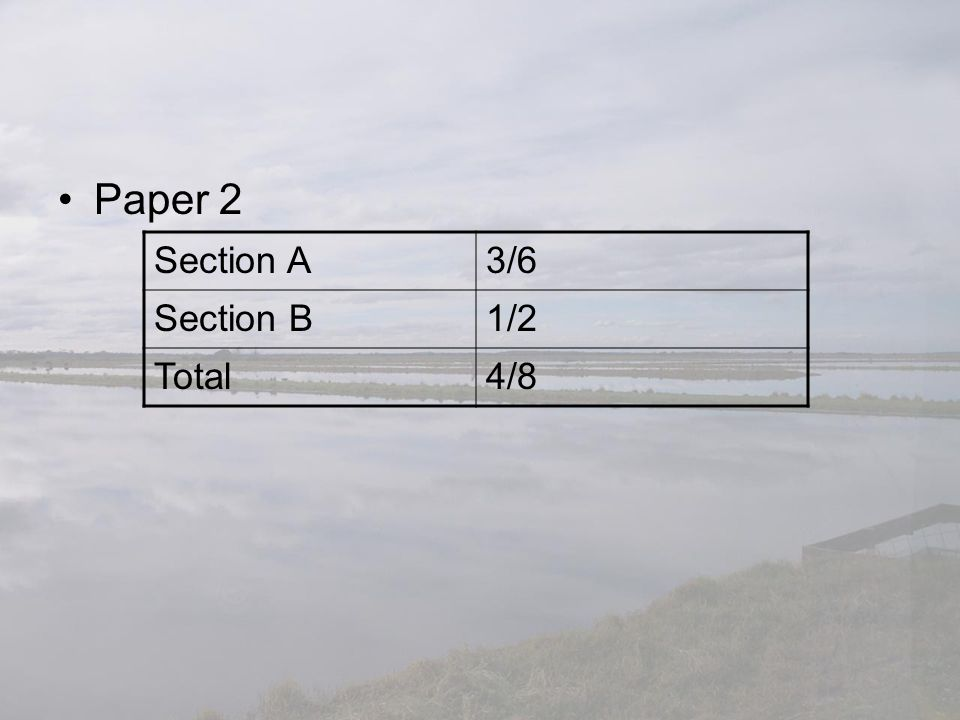 Paper 2 Section A3/6 Section B1/2 Total4/8
