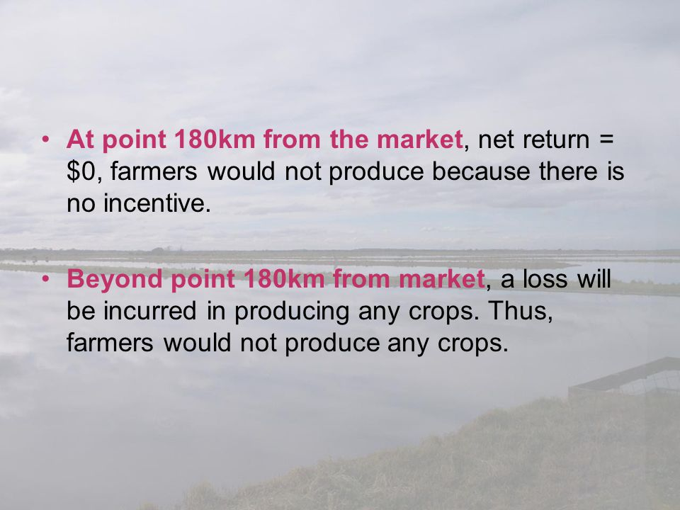At point 180km from the market, net return = $0, farmers would not produce because there is no incentive. Beyond point 180km from market, a loss will