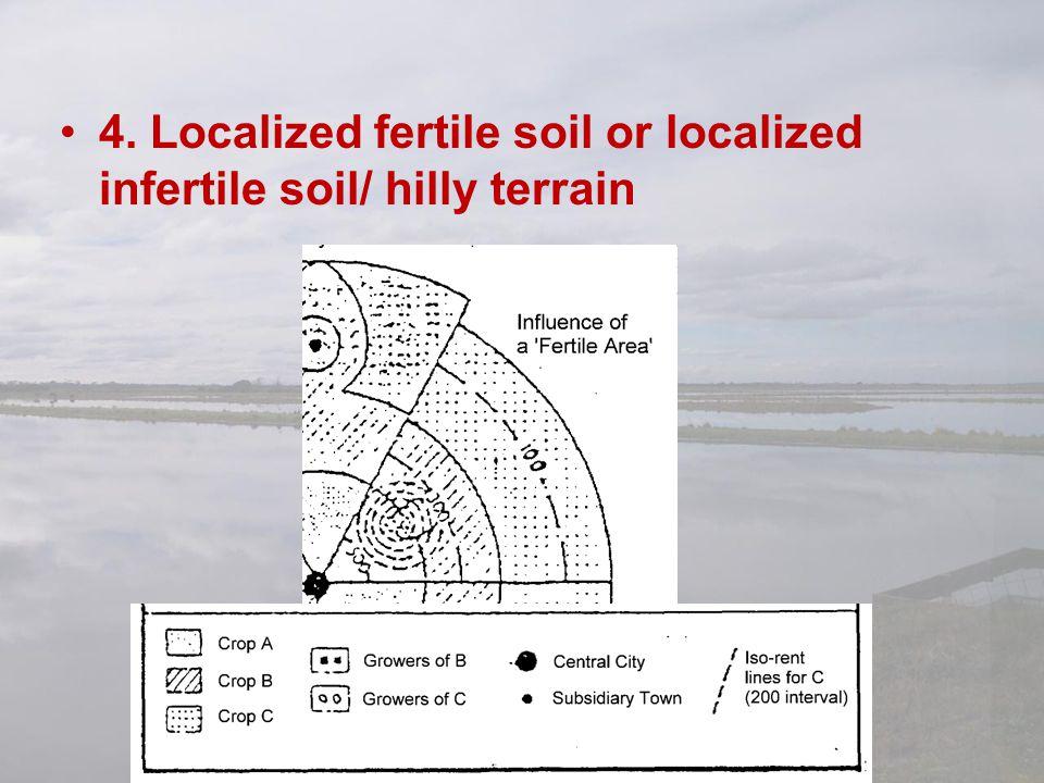 4. Localized fertile soil or localized infertile soil/ hilly terrain