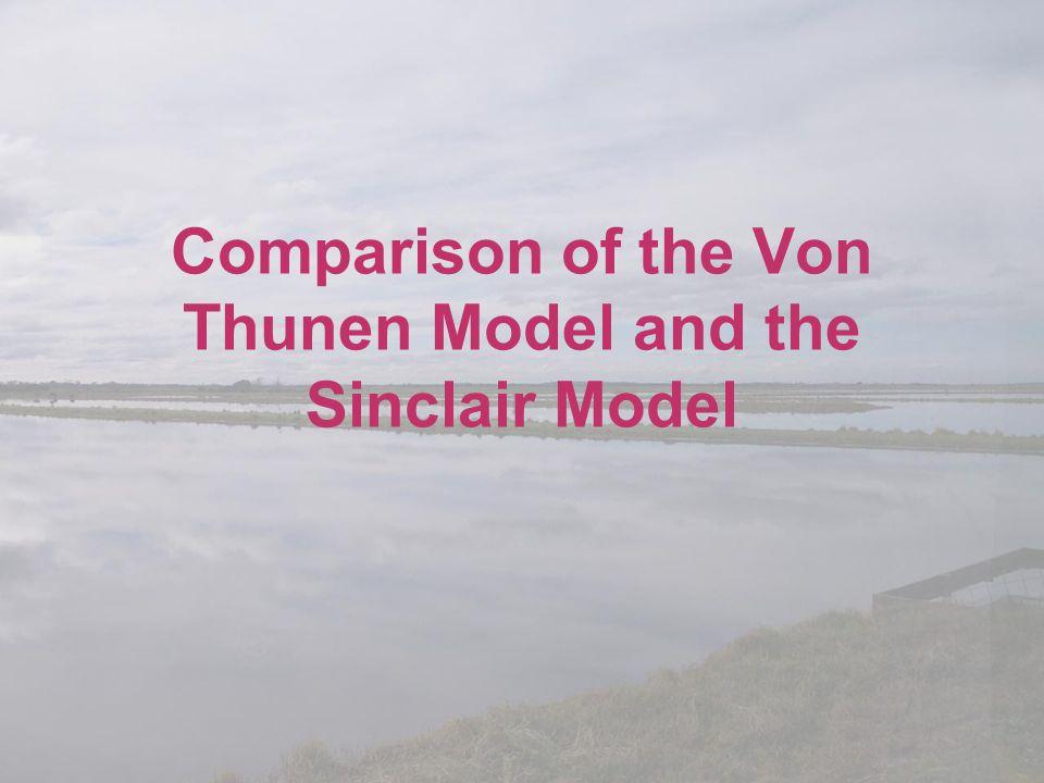 Comparison of the Von Thunen Model and the Sinclair Model