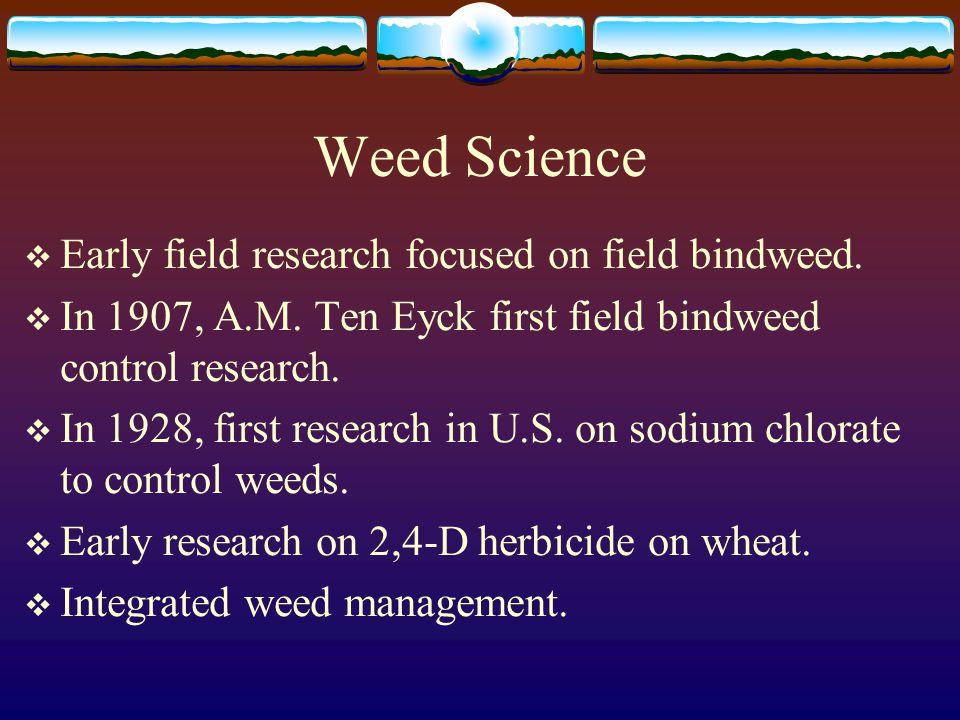 Weed Science  Early field research focused on field bindweed.
