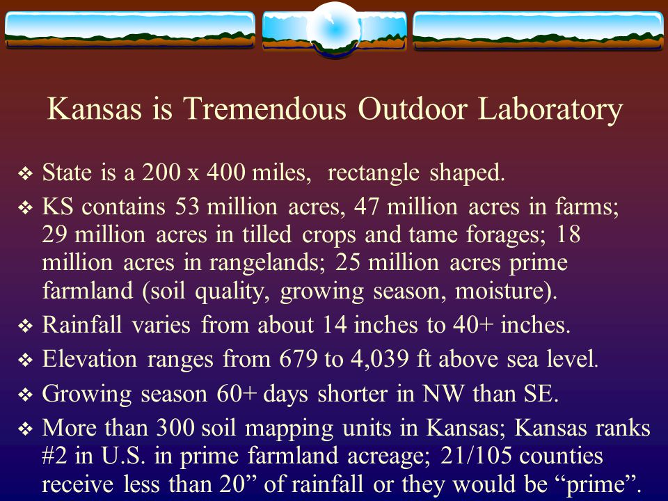Kansas is Tremendous Outdoor Laboratory  State is a 200 x 400 miles, rectangle shaped.