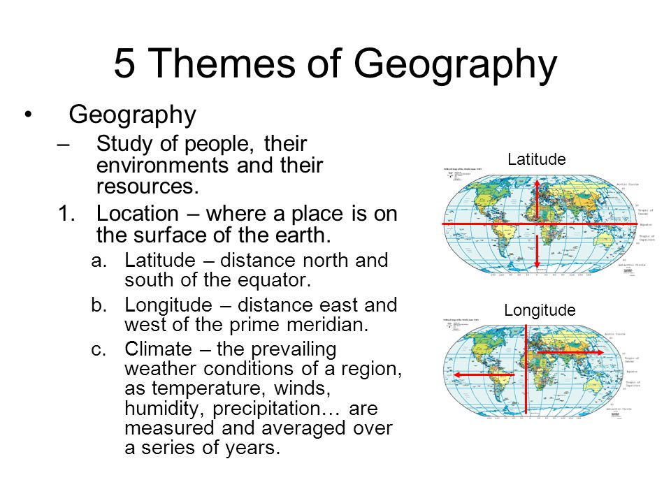 5 Themes of Geography 2.Place – Areas that are described in terms of their physical features.