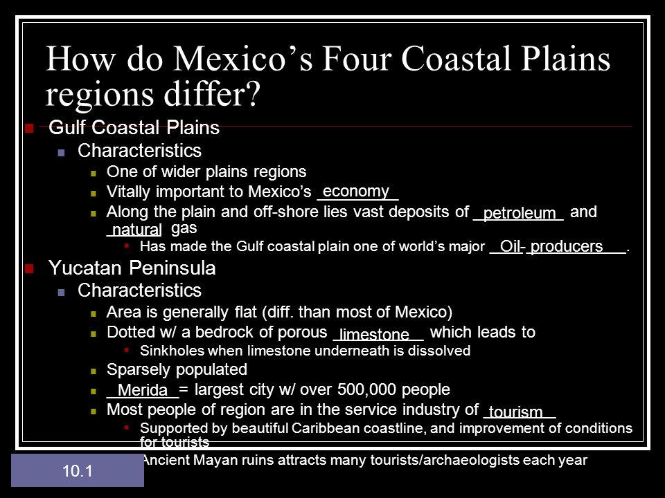 How do Mexico's Four Coastal Plains regions differ.