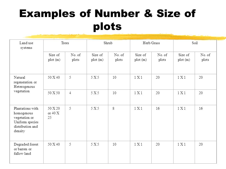 Examples of Number & Size of plots Land use systems TreesShrubHerb/GrassSoil Size of plot (m) No.