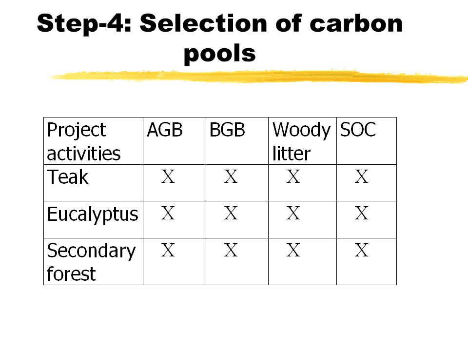 Step-4: Selection of carbon pools