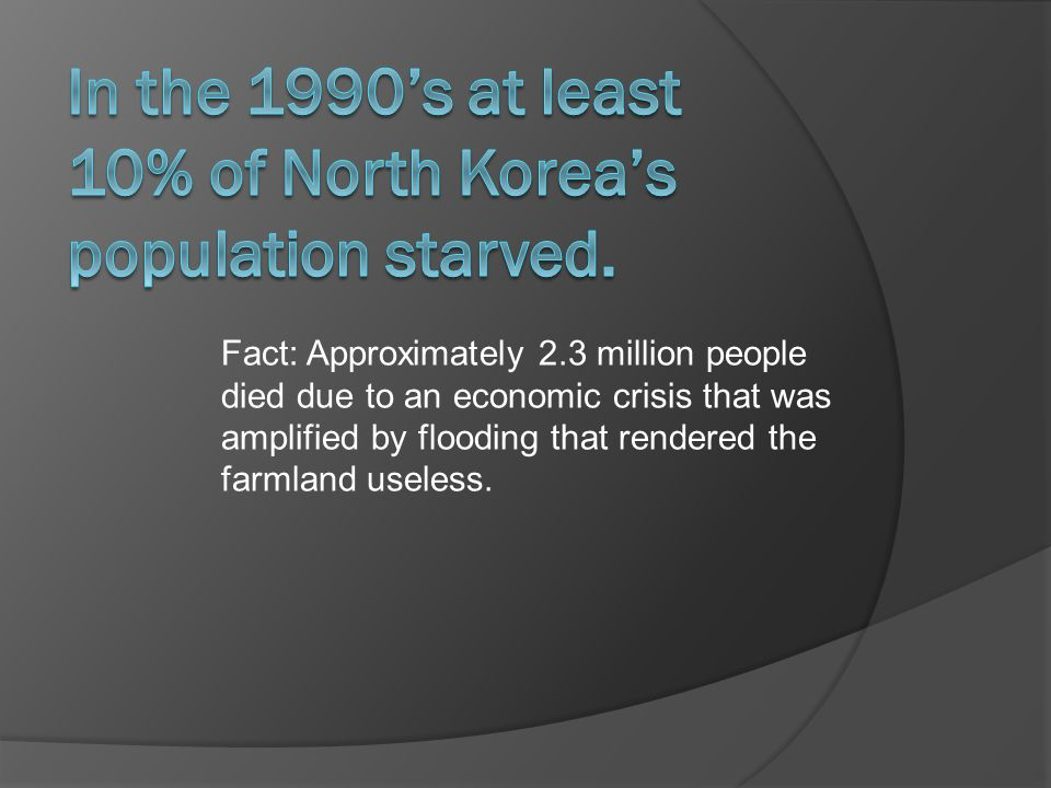 Fact: Approximately 2.3 million people died due to an economic crisis that was amplified by flooding that rendered the farmland useless.