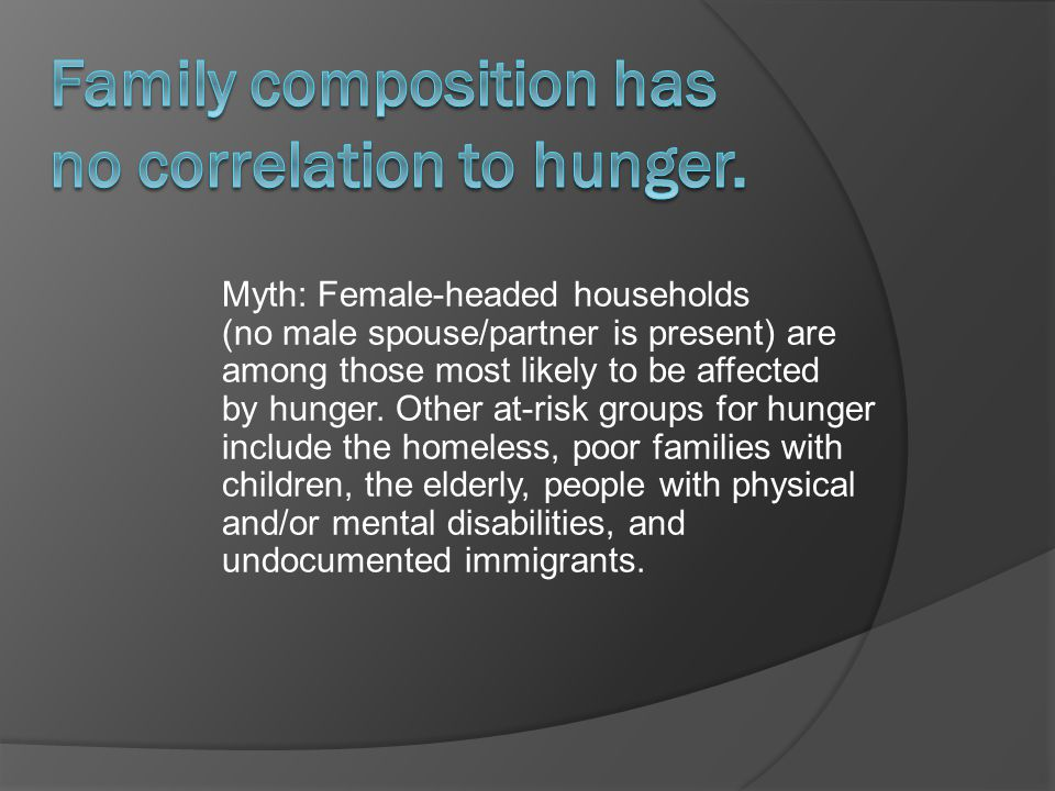 Myth: Female-headed households (no male spouse/partner is present) are among those most likely to be affected by hunger.