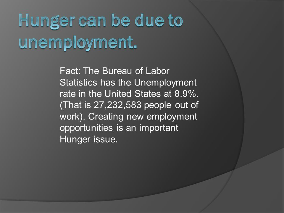 Fact: The Bureau of Labor Statistics has the Unemployment rate in the United States at 8.9%.