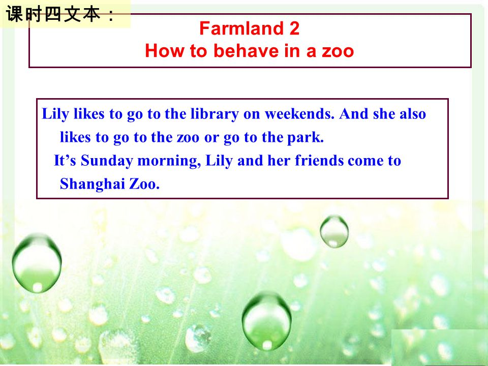 Farmland 2 How to behave in a zoo 课时四文本: Lily likes to go to the library on weekends.