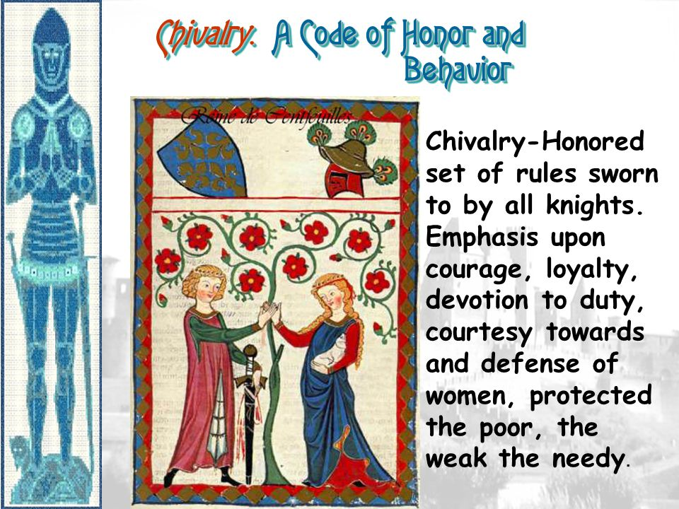 Chivalry: A Code of Honor and Behavior Chivalry-Honored set of rules sworn to by all knights.