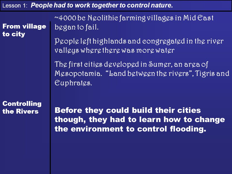 Lesson 1: People had to work together to control nature. From village to city Controlling the Rivers ~4000 bc Neolithic farming villages in Mid East b