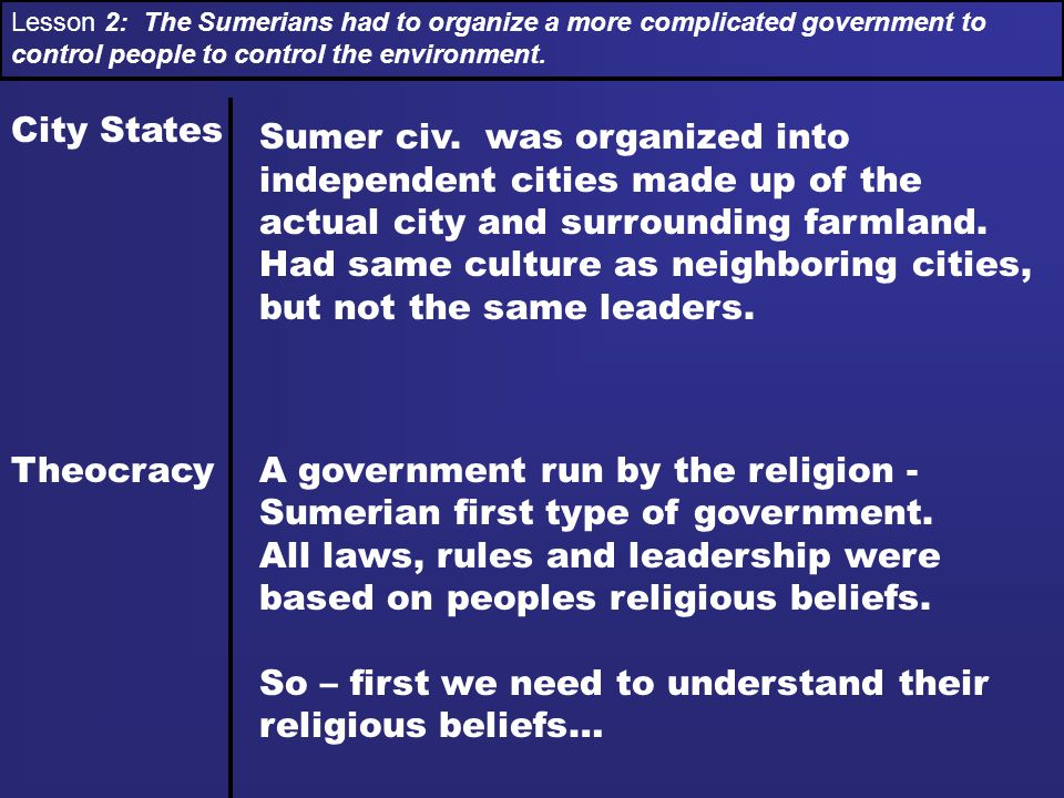Lesson 2: The Sumerians had to organize a more complicated government to control people to control the environment. City States Theocracy Sumer civ. w