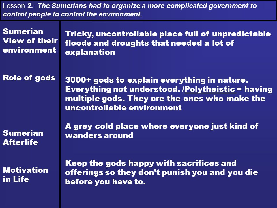 Lesson 2: The Sumerians had to organize a more complicated government to control people to control the environment.