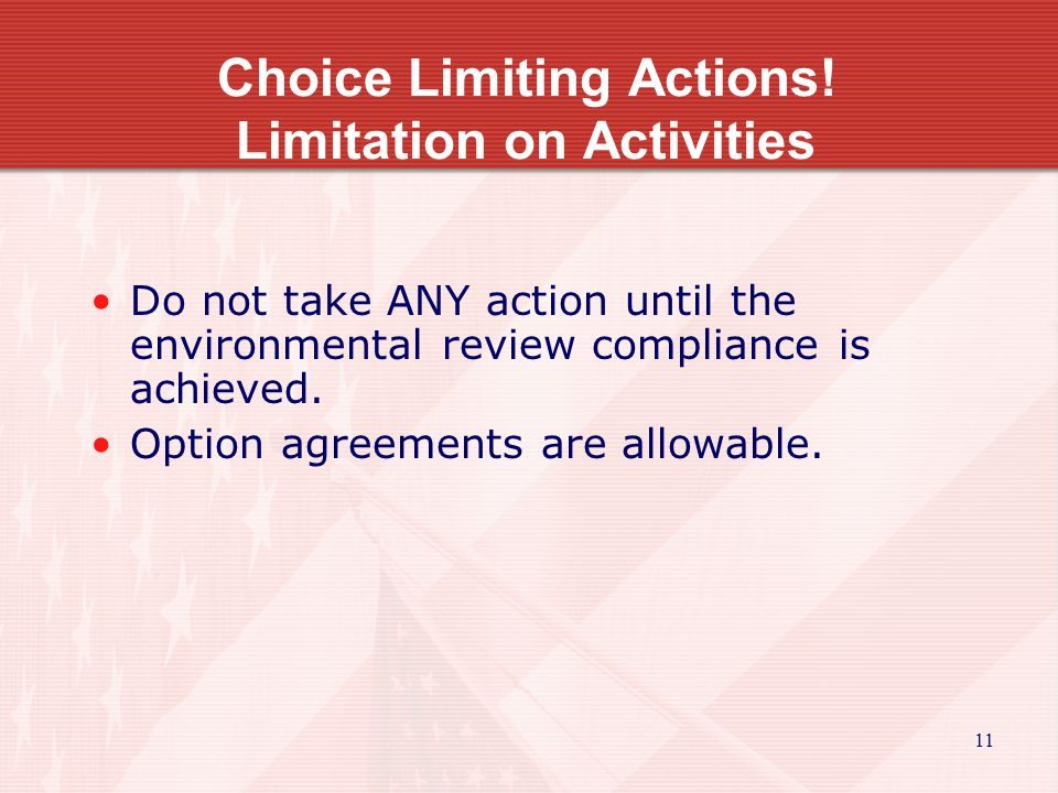 11 Choice Limiting Actions.