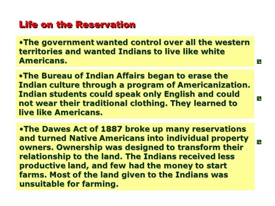 Life on the Reservation The government wanted control over all the western territories and wanted Indians to live like white Americans.The government