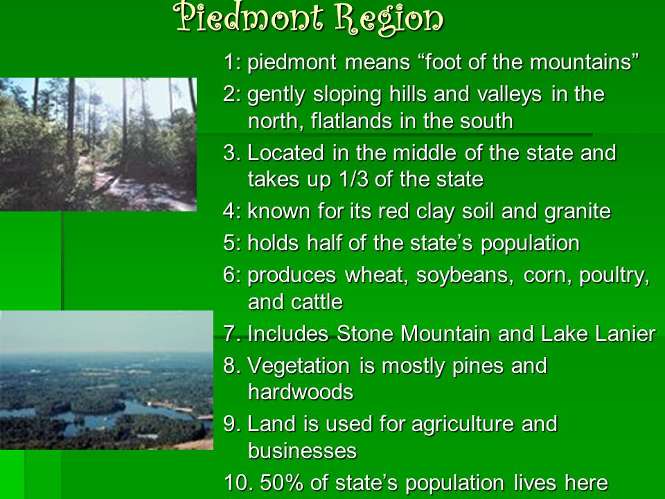 """Piedmont Region 1: piedmont means """"foot of the mountains"""" 2: gently sloping hills and valleys in the north, flatlands in the south 3. Located in the m"""