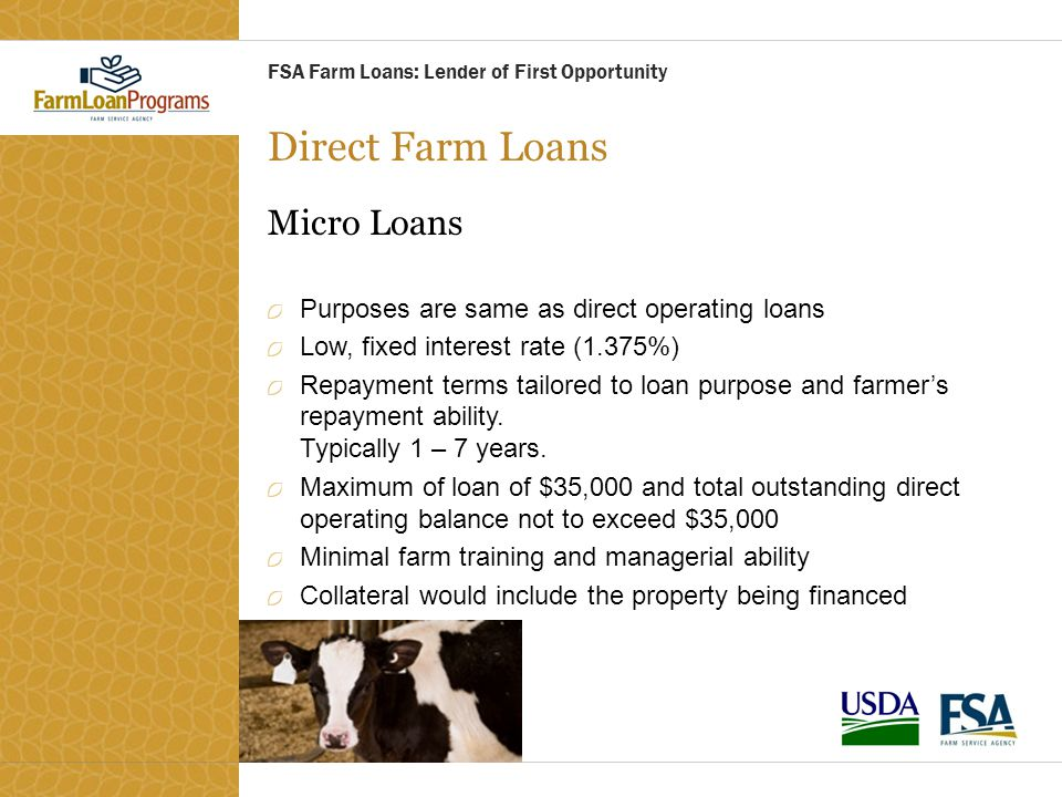 Direct Farm Loans Micro Loans Purposes are same as direct operating loans Low, fixed interest rate (1.375%) Repayment terms tailored to loan purpose a