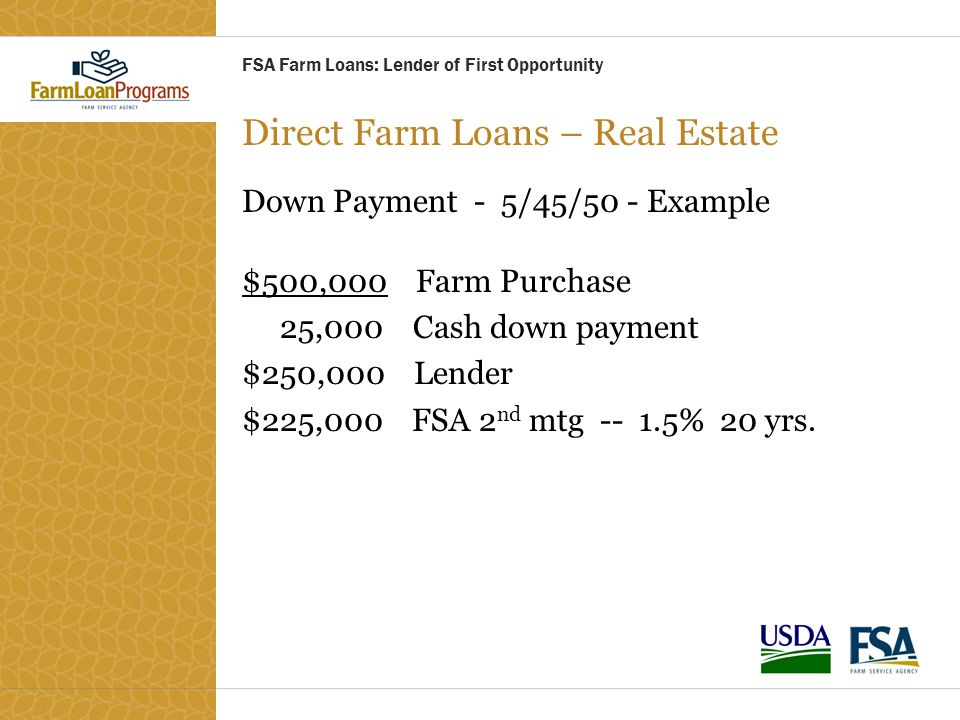 Direct Farm Loans – Real Estate Down Payment - 5/45/50 - Example $500,000 Farm Purchase 25,000 Cash down payment $250,000 Lender $225,000 FSA 2 nd mtg