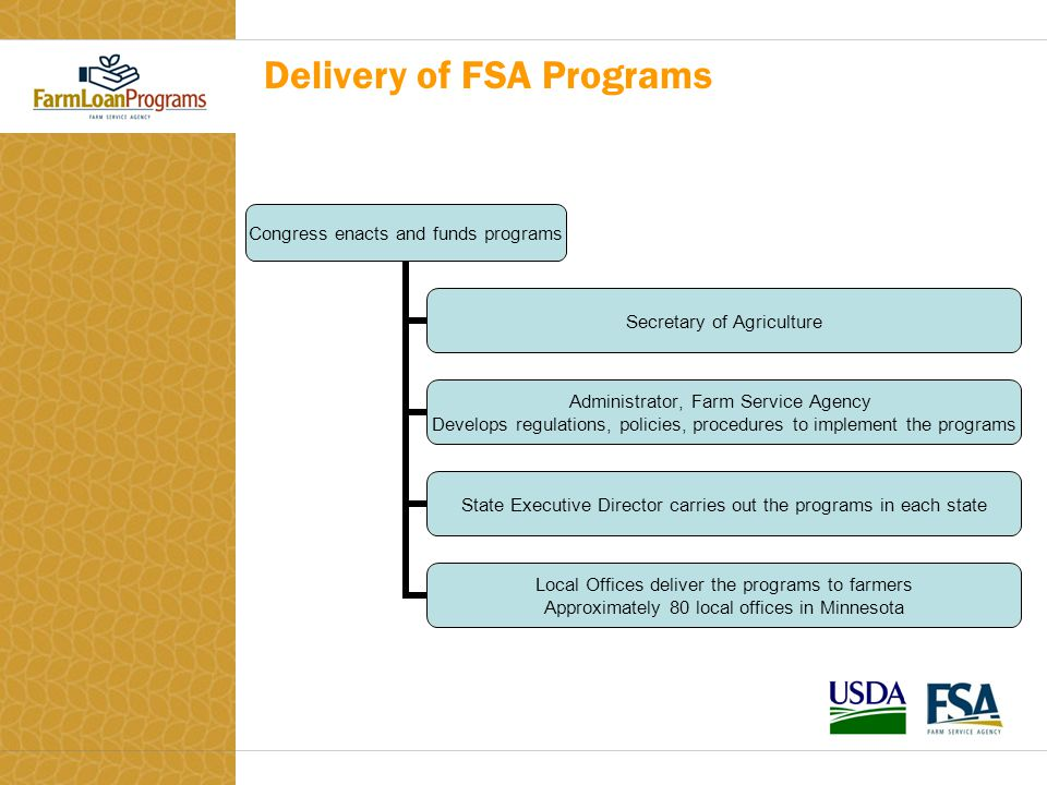 Delivery of FSA Programs Congress enacts and funds programs Secretary of Agriculture Administrator, Farm Service Agency Develops regulations, policies