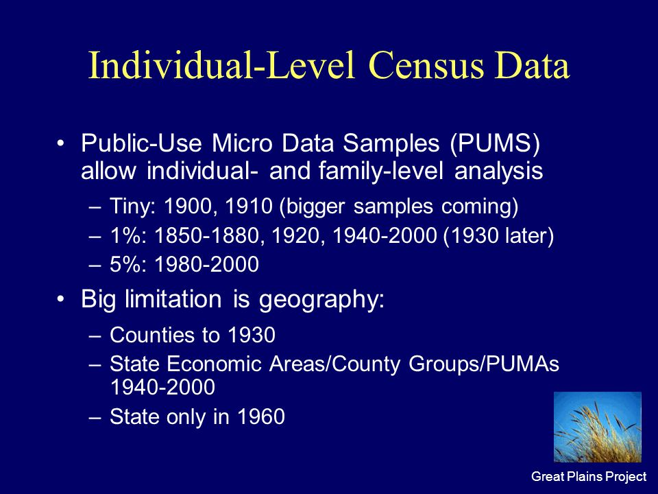 Great Plains Project Individual-Level Census Data Public-Use Micro Data Samples (PUMS) allow individual- and family-level analysis –Tiny: 1900, 1910 (bigger samples coming) –1%: 1850-1880, 1920, 1940-2000 (1930 later) –5%: 1980-2000 Big limitation is geography: –Counties to 1930 –State Economic Areas/County Groups/PUMAs 1940-2000 –State only in 1960