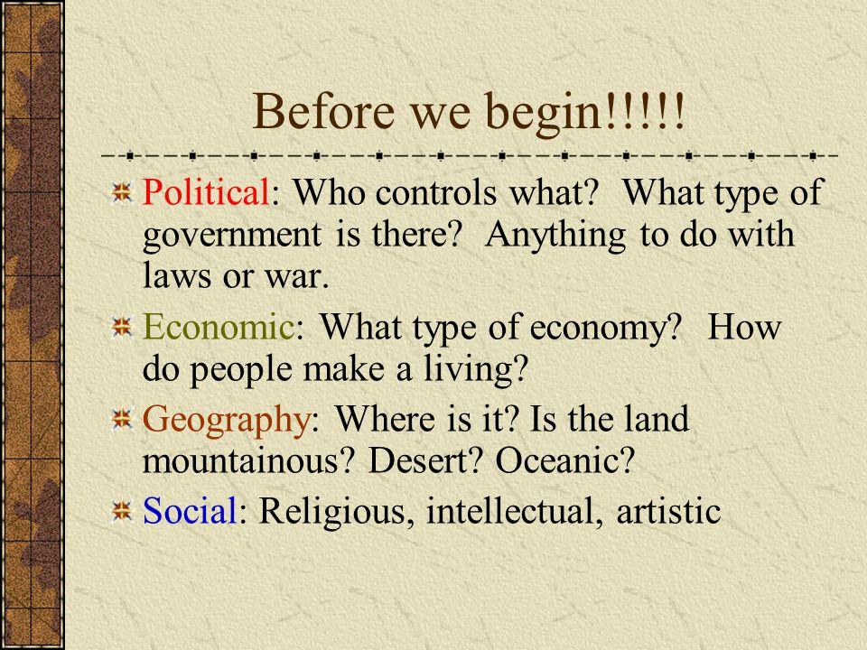 Before we begin!!!!.Political: Who controls what.