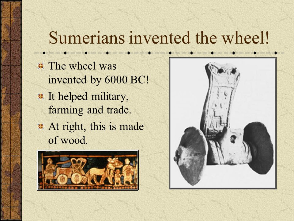 Economic: trade and farming Sumerians (Mesopotamians) were known to trade with the Egyptians and the Indus Valley civilizations.