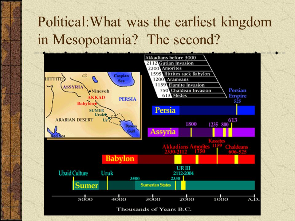 Political:What was the earliest kingdom in Mesopotamia? The second?