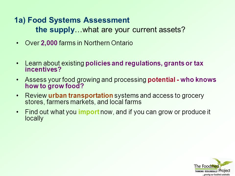 1a) Food Systems Assessment the supply…what are your current assets.