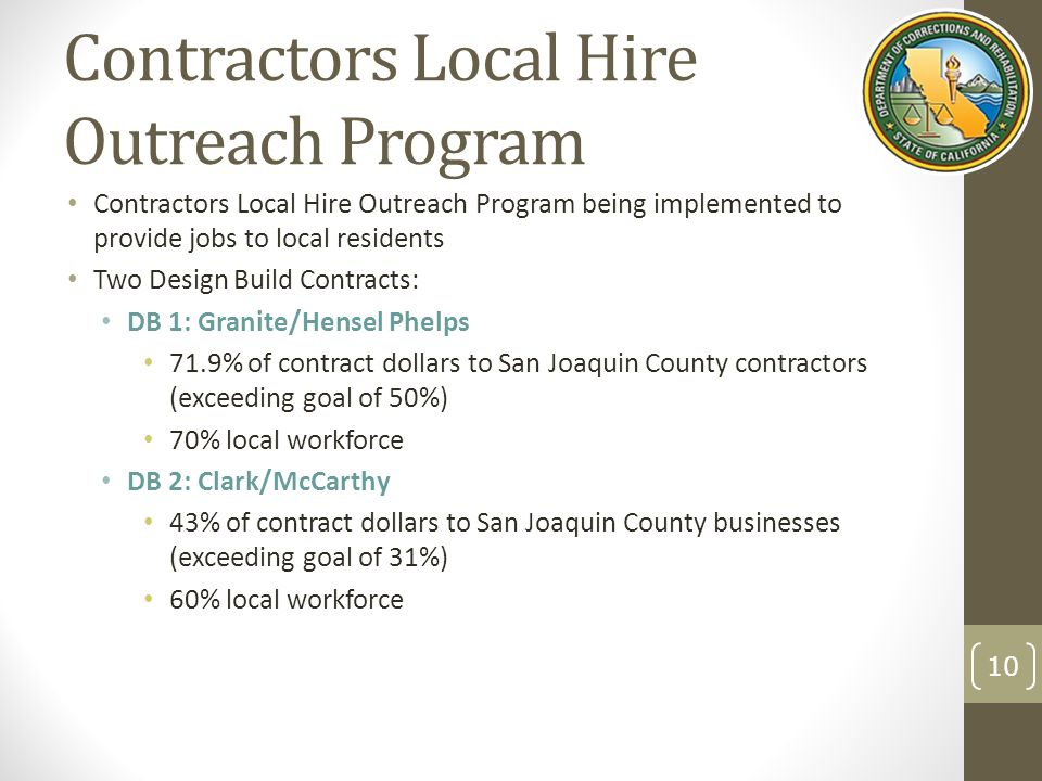 Contractors Local Hire Outreach Program Contractors Local Hire Outreach Program being implemented to provide jobs to local residents Two Design Build Contracts: DB 1: Granite/Hensel Phelps 71.9% of contract dollars to San Joaquin County contractors (exceeding goal of 50%) 70% local workforce DB 2: Clark/McCarthy 43% of contract dollars to San Joaquin County businesses (exceeding goal of 31%) 60% local workforce 10