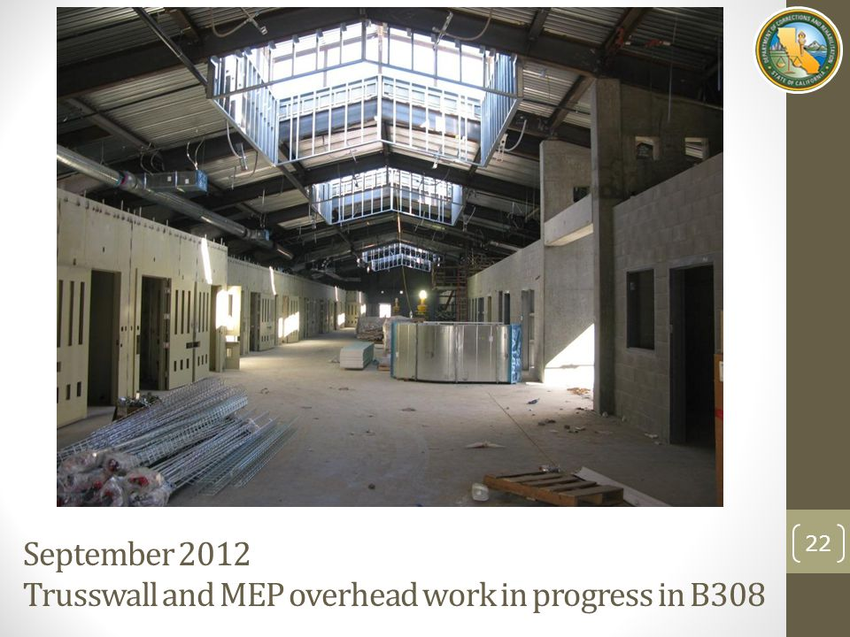 September 2012 Trusswall and MEP overhead work in progress in B308 22