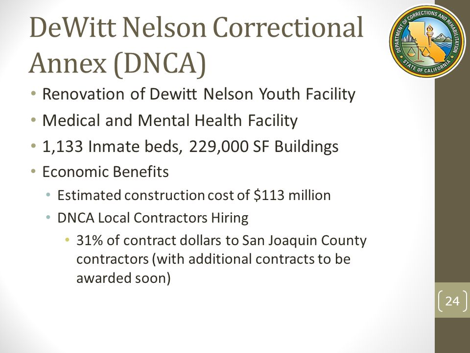 DeWitt Nelson Correctional Annex (DNCA) Renovation of Dewitt Nelson Youth Facility Medical and Mental Health Facility 1,133 Inmate beds, 229,000 SF Buildings Economic Benefits Estimated construction cost of $113 million DNCA Local Contractors Hiring 31% of contract dollars to San Joaquin County contractors (with additional contracts to be awarded soon) 24