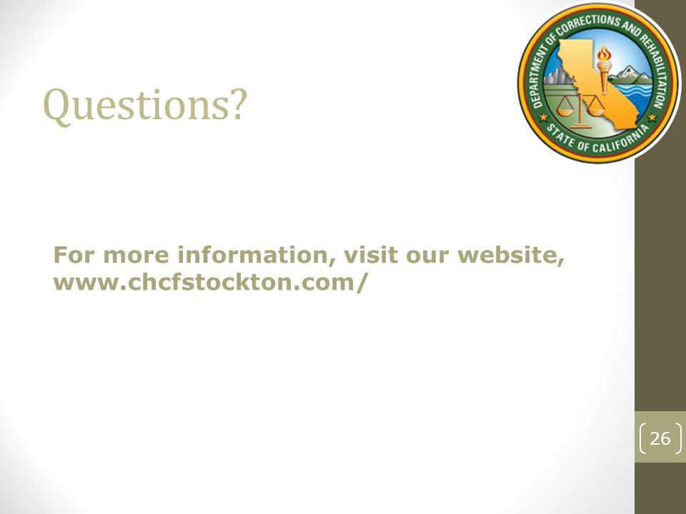Questions? For more information, visit our website, www.chcfstockton.com/ 26