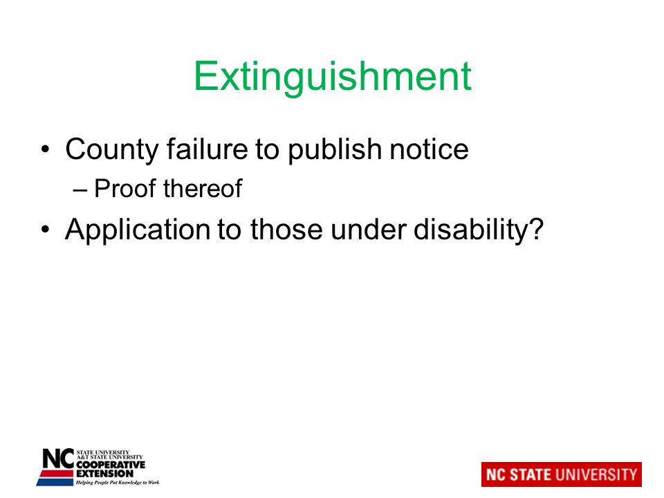 Extinguishment County failure to publish notice –Proof thereof Application to those under disability