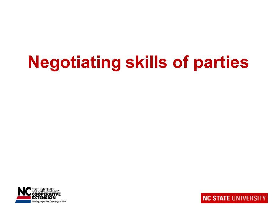 Negotiating skills of parties