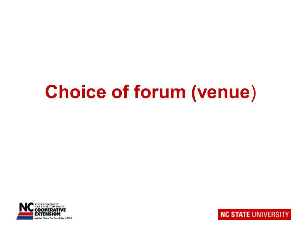 Choice of forum (venue)