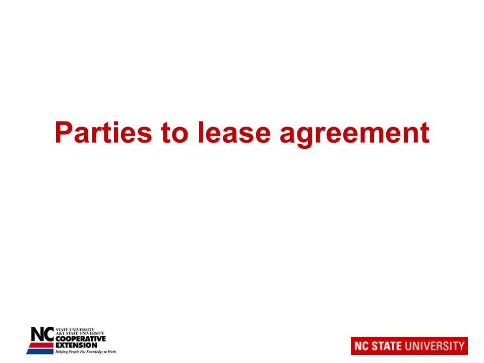 Parties to lease agreement