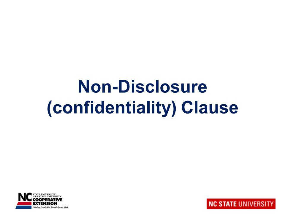 Non-Disclosure (confidentiality) Clause