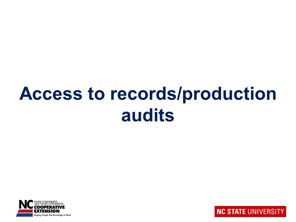 Access to records/production audits