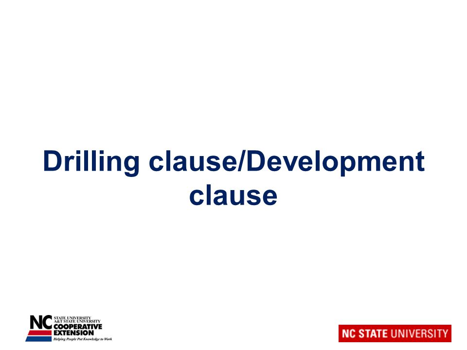 Drilling clause/Development clause
