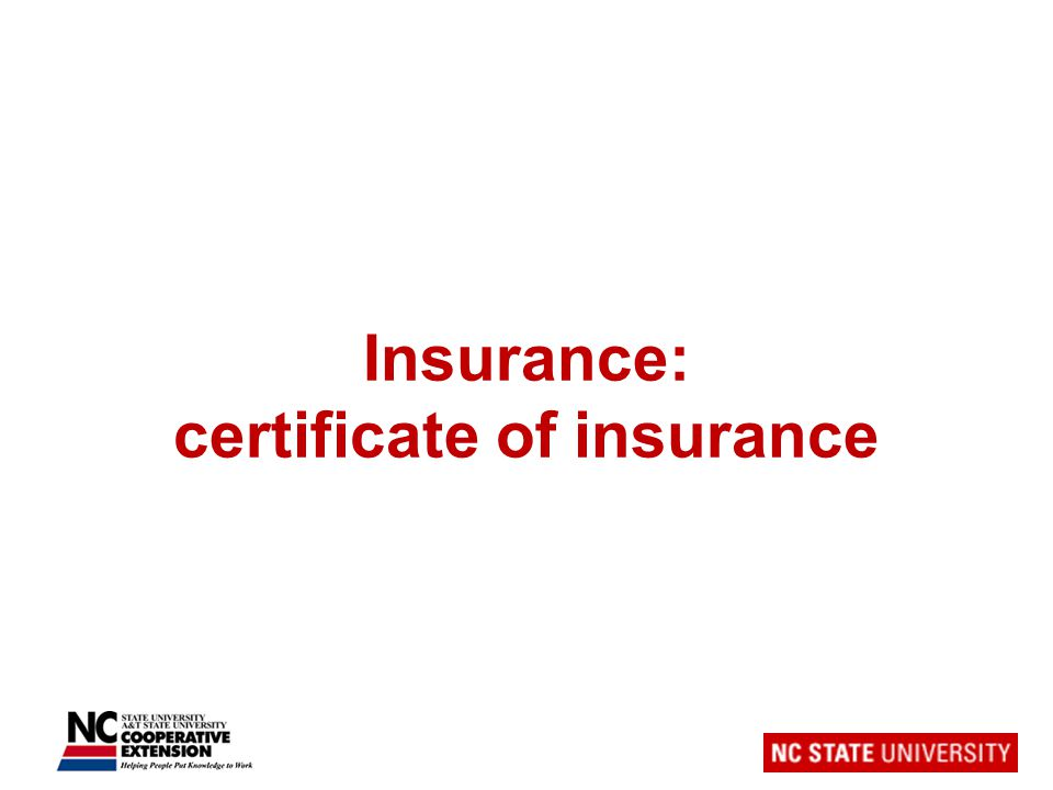 Insurance: certificate of insurance